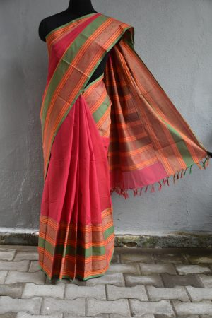 Red hand woven kanchi silk saree