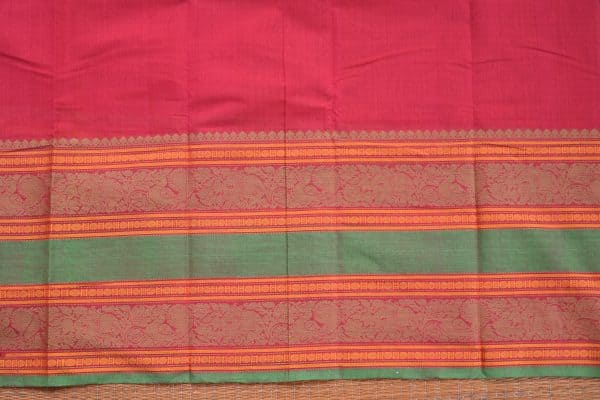 Red hand woven kanchi silk saree blouse