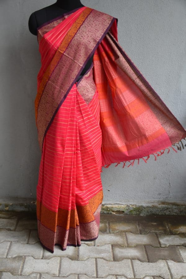 Red hand woven stripes kanchi cotton saree