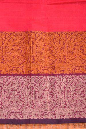Red hand woven stripes kanchi cotton saree blouse