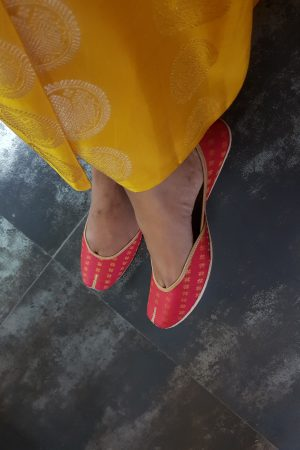 Red kancheepuram silk footwear