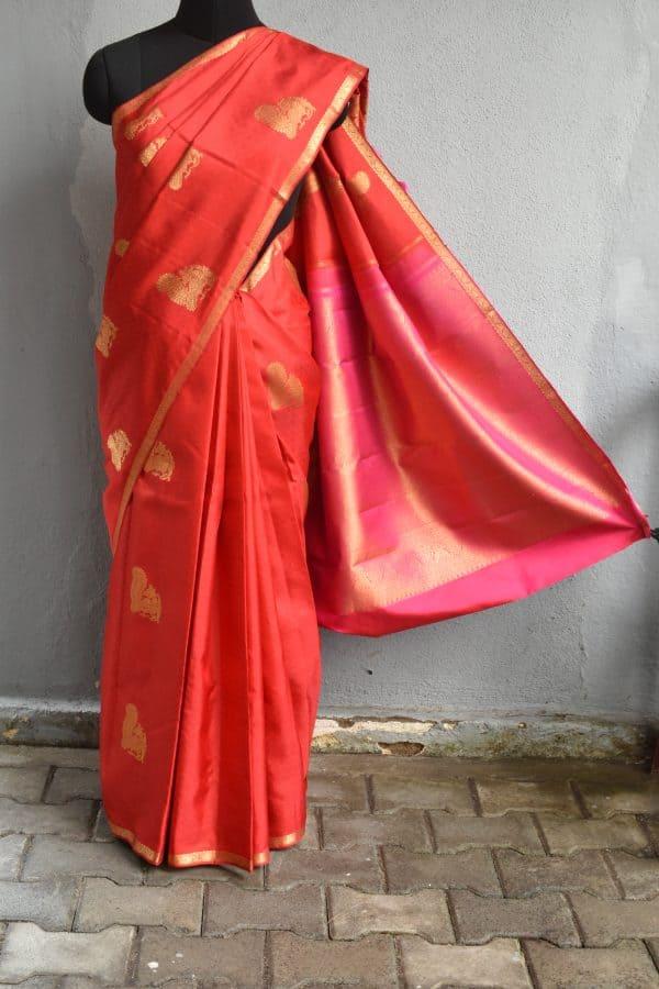 Red peacock zari woven kanchi silk saree