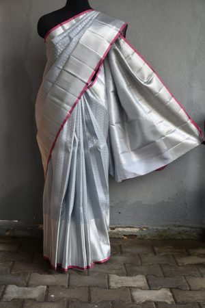 Silver with pure zari buttis kanchi silk saree