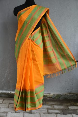 Yellow and green hand woven kanchi cotton saree