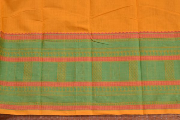Yellow and green hand woven kanchi cotton saree blouse