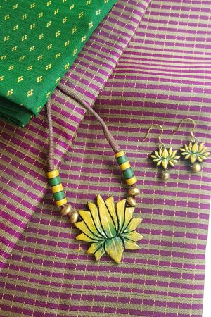 Yellow lotus terracotta necklace1