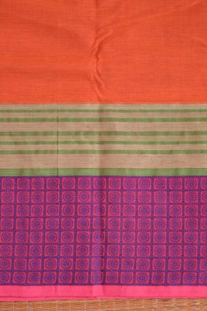 orange kanchi cotton saree with woven border blouse