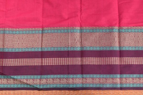 pink hand woven thread weave kanchi cotton saree blouse