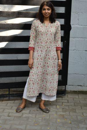 Beige and peach floral printed cotton kurta