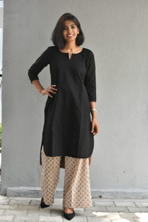 Black and beige printed cotton set