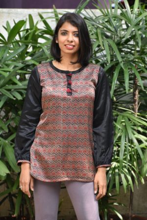 Black and brown gajji silk short tunic