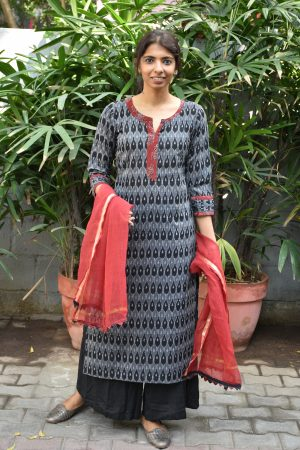 Black and grey ikat cotton kurta