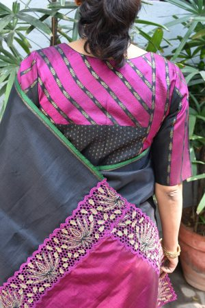 Black and pink stripes kanchi silk ready to wear blouse back