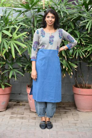 Blue and grey cotton printed kurta