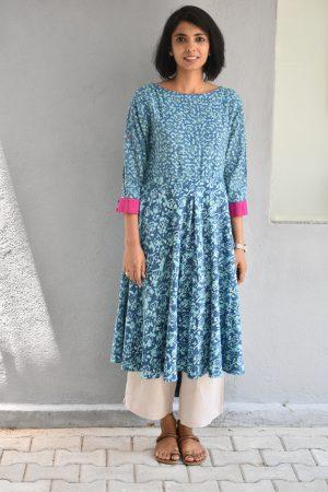 Blue dabu printed gantha work cotton tunic