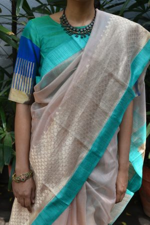 Blue green kanchi silk ready to wear blouse front