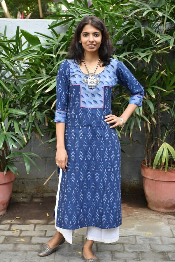 Blue ikat cotton kurta with yoke