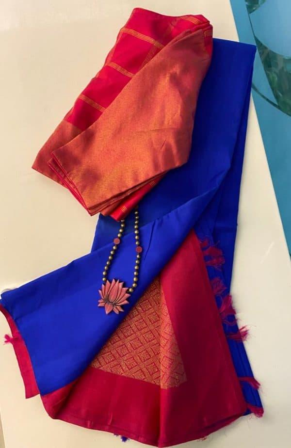 Blue kanchipuram silk saree with pink pallu and blouse