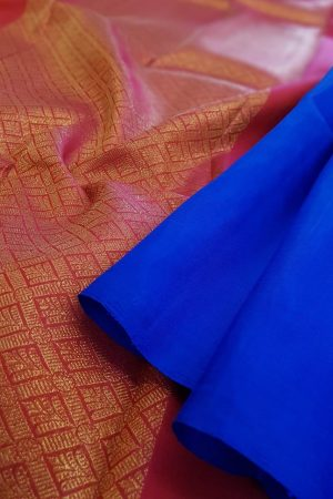 Blue kanchipuram silk saree with pink pallu and blouse1
