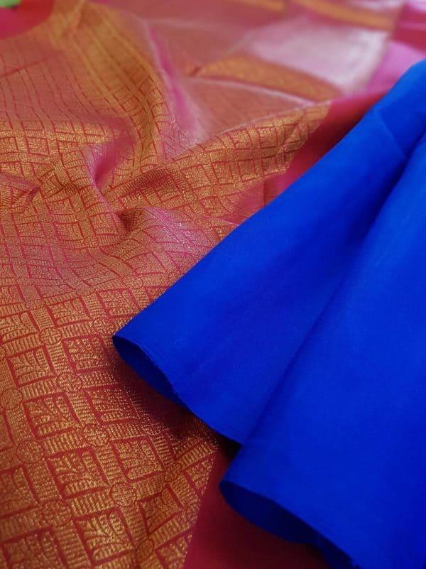 Blue kanchipuram silk saree with pink pallu and blouse1