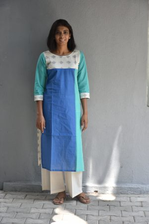 Blue teal and off white ikat cotton kurta