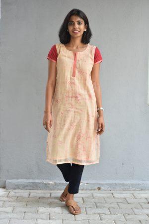 Cream and dye and dye kota cotton kurta