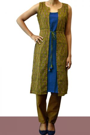 Green and blue slip and coart cotton tunic