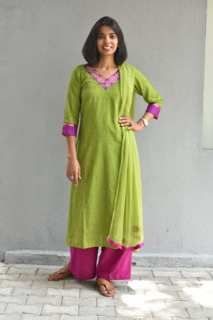 Green self zig zag thread weave cotton kurta