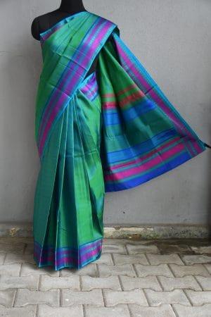Green with magenta thread weave border kancheepuram soft silk saree