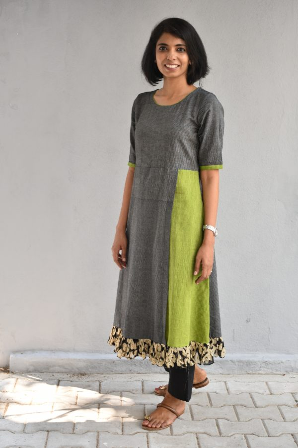 Grey and green cotton tunic