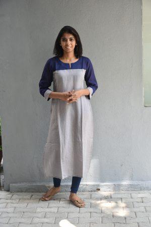 Grey and navy blue yoke cotton kurta