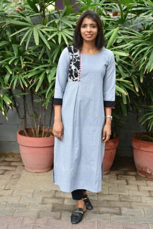 Grey cotton with black embroidery oneside yoke cotton kurta