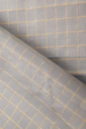 Grey gold zari checks kanchi fabric