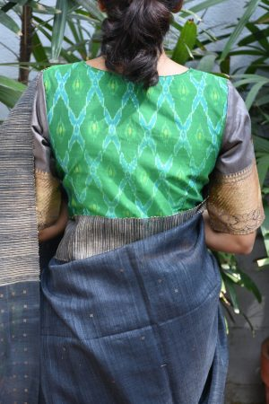 Grey green ikat benaras ready to wear blouse back