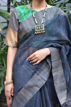 Grey green ikat benaras ready to wear blouse front