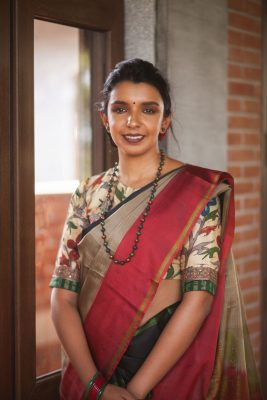 aavaranaa kanjivaram kalamkari blouse with soft silk
