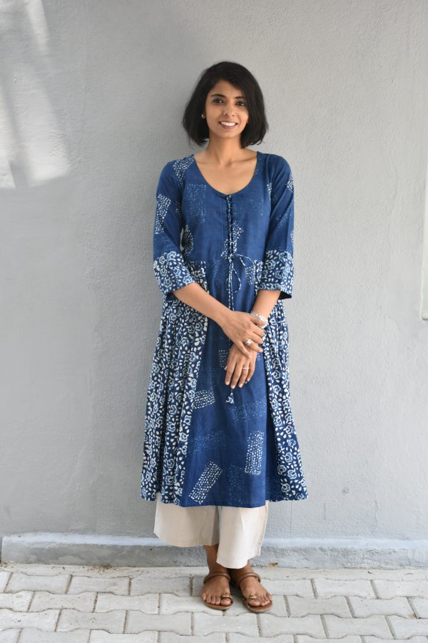 Indigo blue dabu tunic