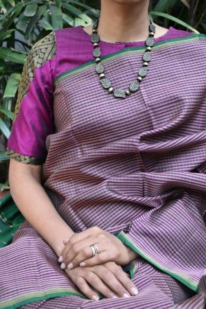Magenta and black kanchi silk ready to wear blouse (1)