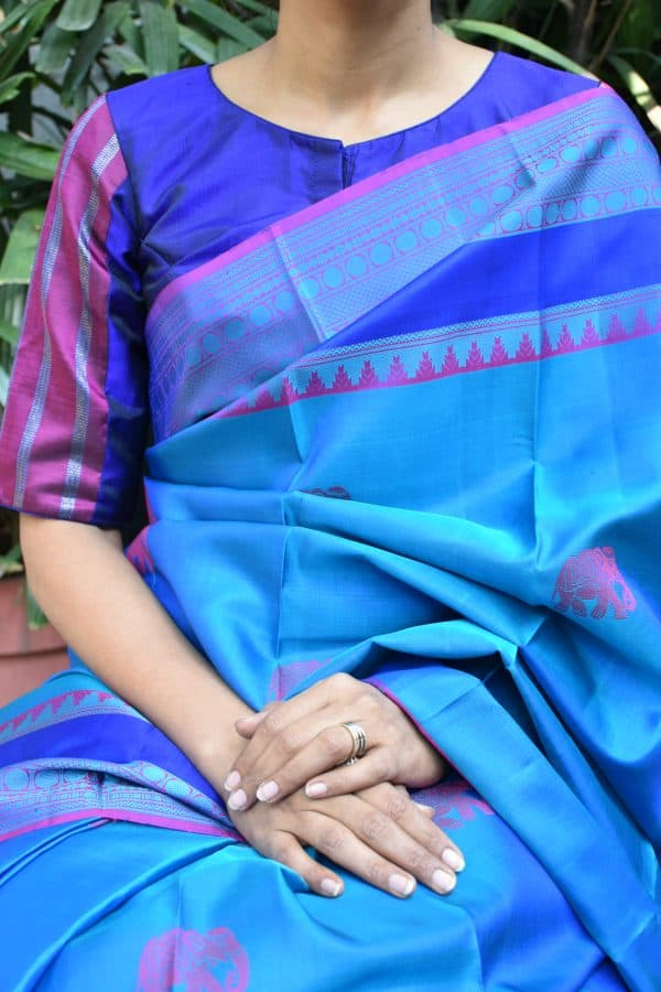 Magenta and blue kanchi silk ready to wear blouse (1)