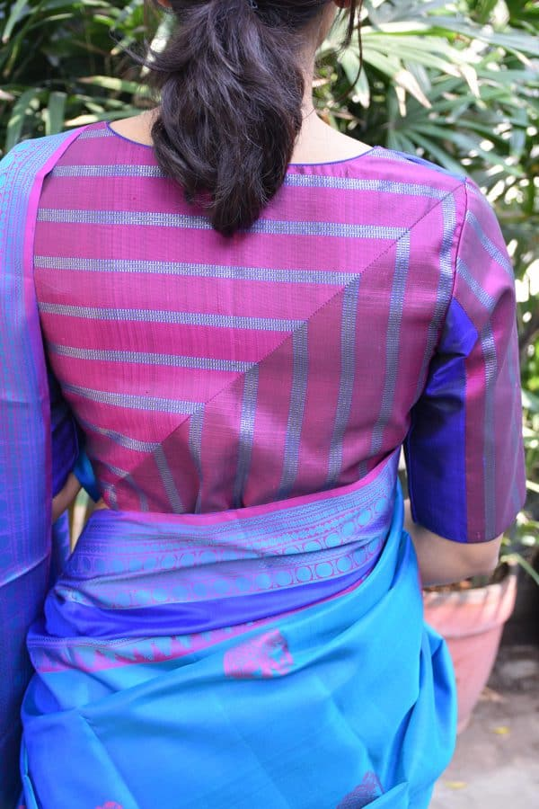 Magenta and blue kanchi silk ready to wear blouse (2)