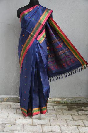 Navy blue thread weave kancheepuram soft silk saree with border
