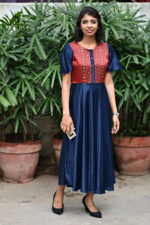 Navy blue with maroon yoke gajji silk tunic
