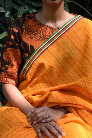 Orange and black kalamkari raw silk ready to wear blouse (1)