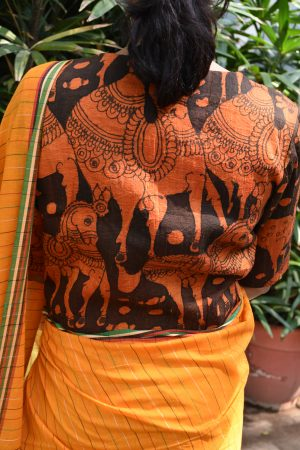 Orange and black kalamkari raw silk ready to wear blouse (2)