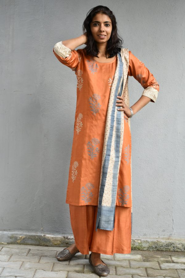 Orange printed tussar full set