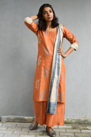 Orange printed tussar full set 1