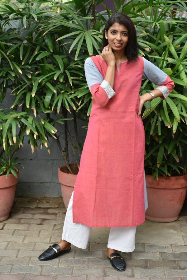 Pink and grey cotton kurta