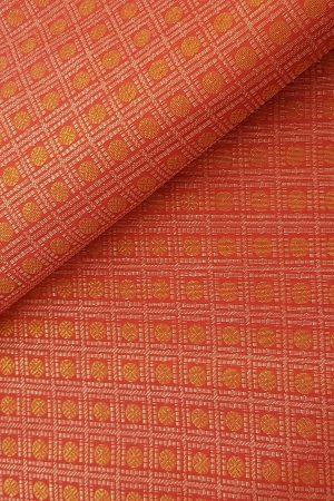 Pink gold and silver zari kanchi fabric