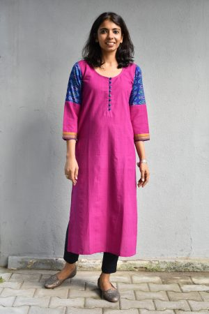 Purple cotton kurta with ikat sleeves
