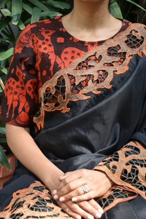 Red and black kalamkari raw silk ready to wear blouse